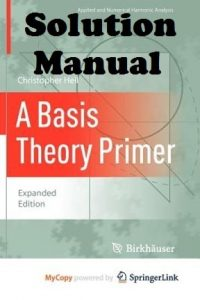 Solution Manual A Basis Theory Primer Christopher Heil