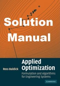 Solution Manual Applied Optimization Ross Baldick