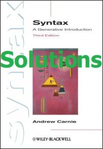 Solution Manual Syntax 3rd Edition by Andrew Carnie
